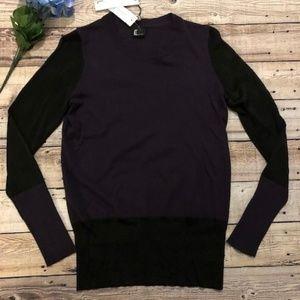 LOVE TOKEN Camella Purple Black LS Wool Sweater